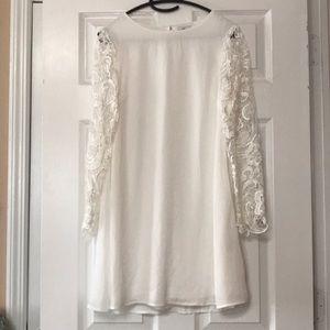 Dainty Hooligan White Mini Crochet Sleeve Dress